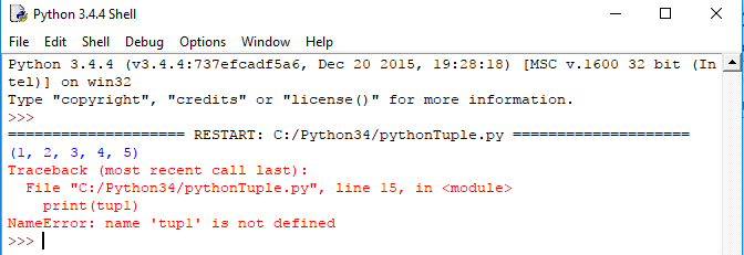 python tuple tutorial, tuple update and delete example output