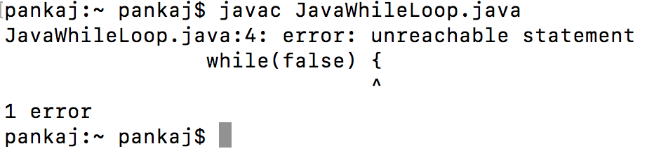 while loop java compiler error, while false java