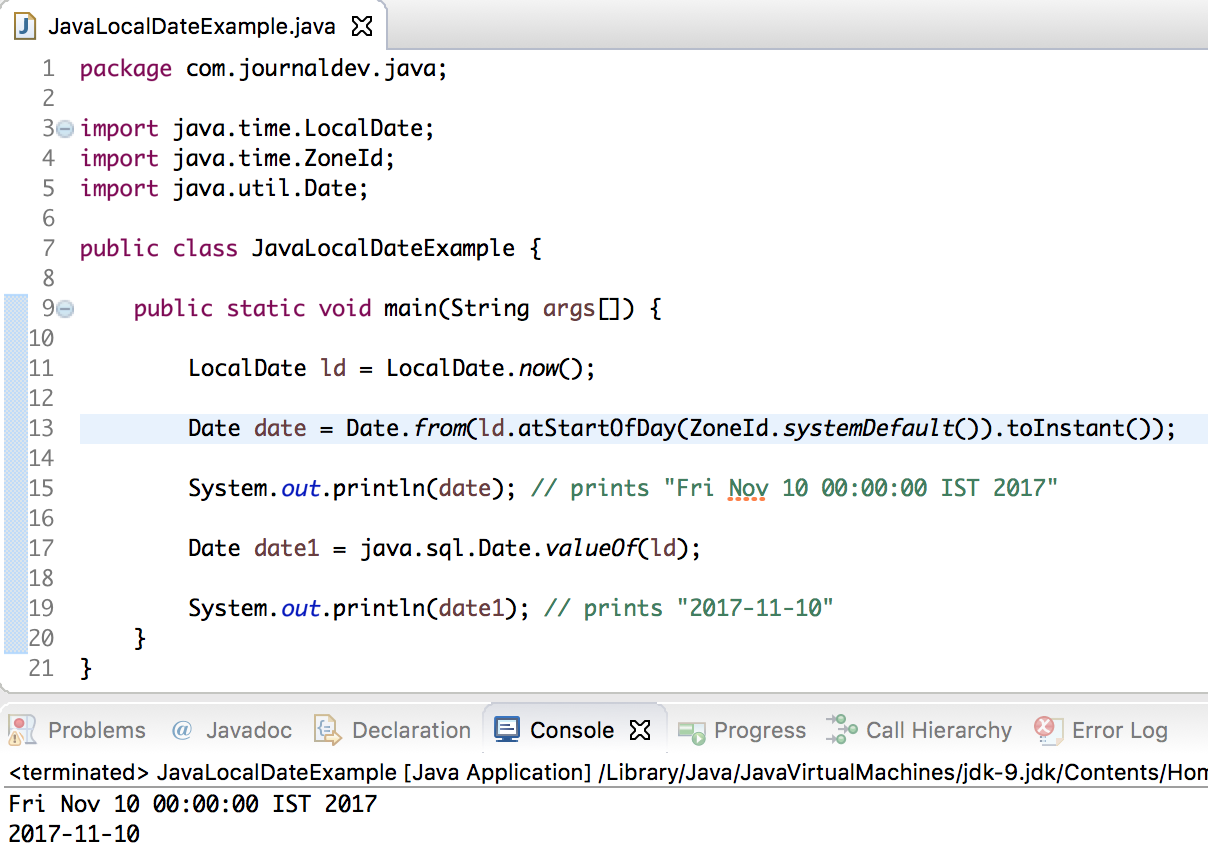 Java LocalDate to Date