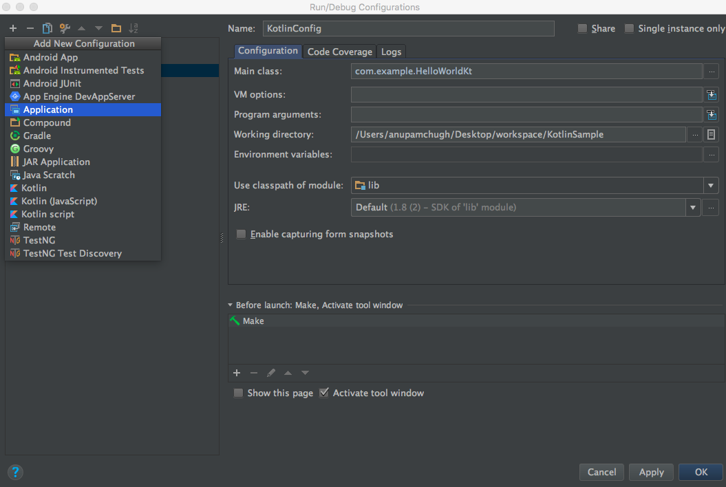 kotlin android studio set configurations