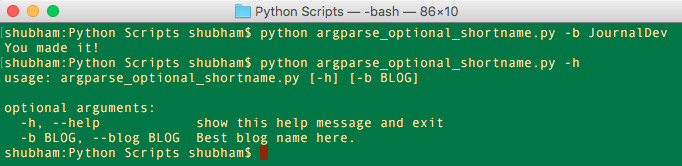 Python argparse Optional Short name