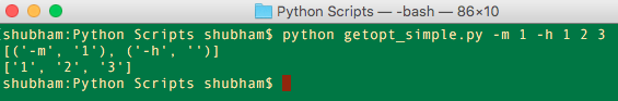 Python getopt example, python command line arguments
