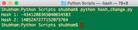 python hash int value