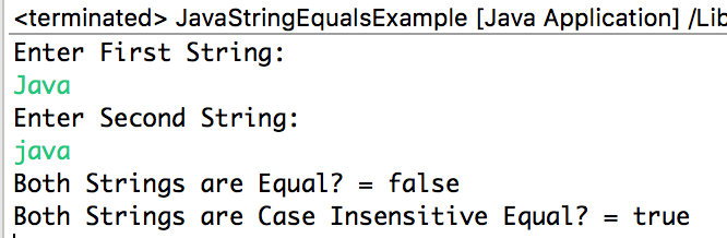 Java String equals method example