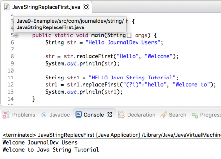 java string replaceFirst example
