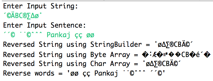 java string reverse with special unicode characters