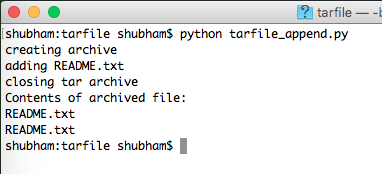 python tarfile append