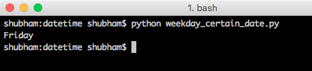 python date time day example