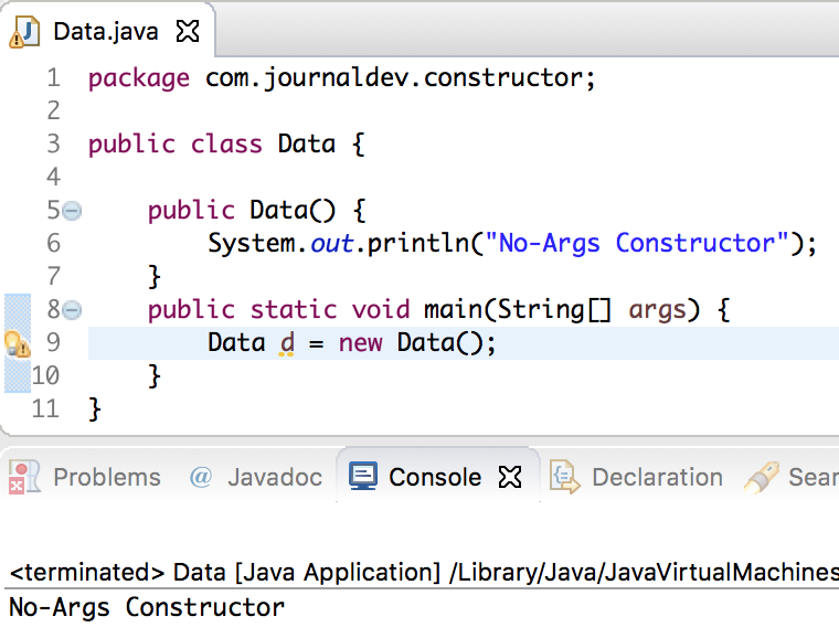 no args constructor in java