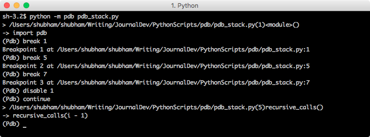 python pdb disable breakpoint