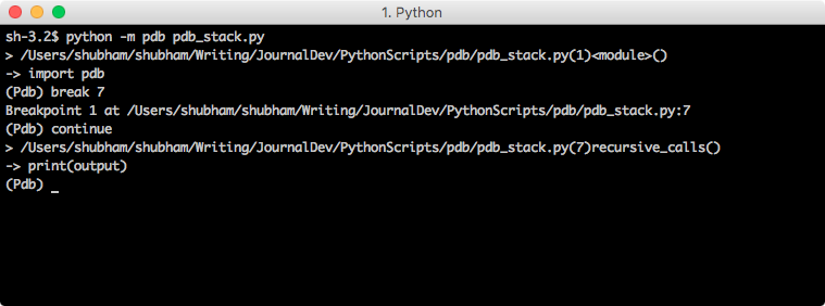 python pdb breakpoint