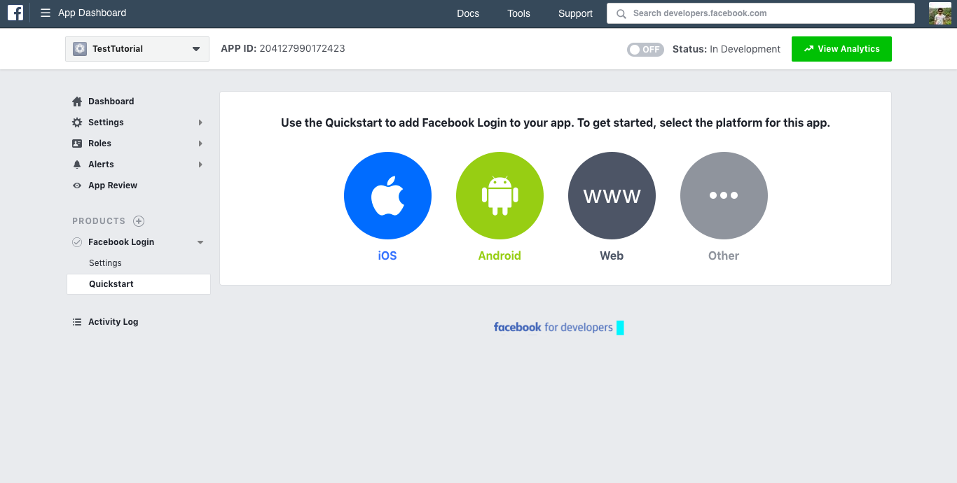 android login with Facebook choose platform