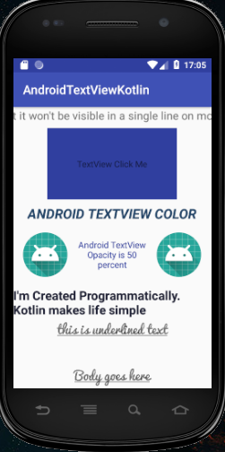 android textview kotlin programming output