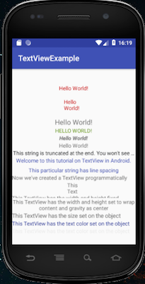 android textview setText programmatically