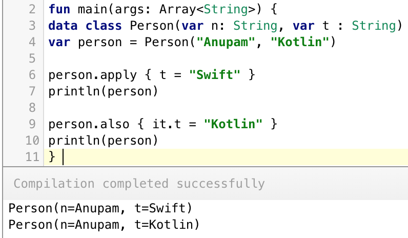 Kotlin apply vs also