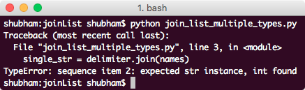 python join list multiple data types