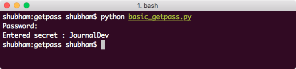 python getpass with no prompt
