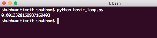 Timing basic loop using timeit python module
