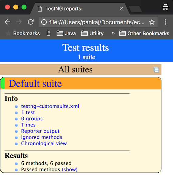 TestNG HTML Report Output