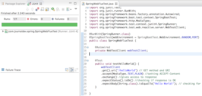 Spring Reactive WebTestClient example JUnit test case