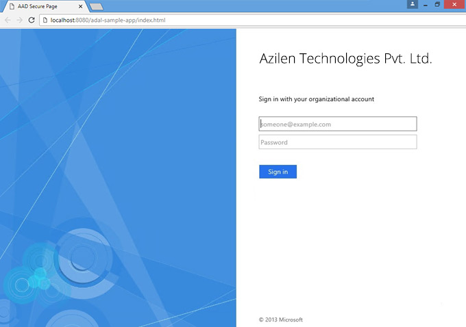 Azure AD SSO Login Page