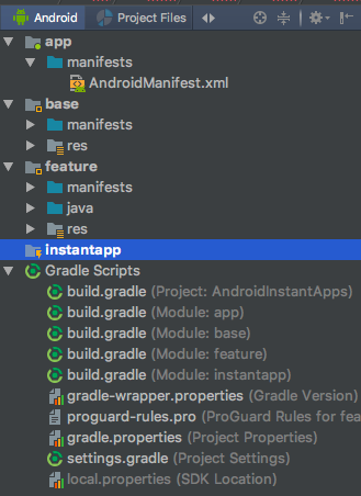 android studio instant apps project structure