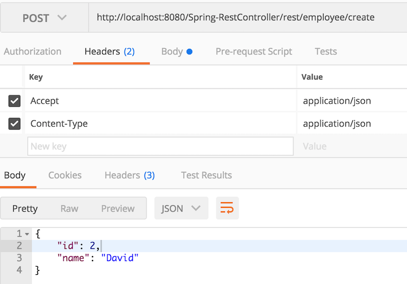 Spring RestController POST JSON Request Response