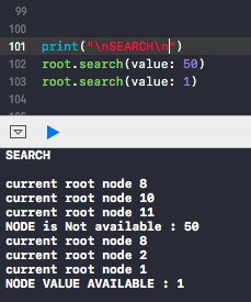 swift binary search tree search elements