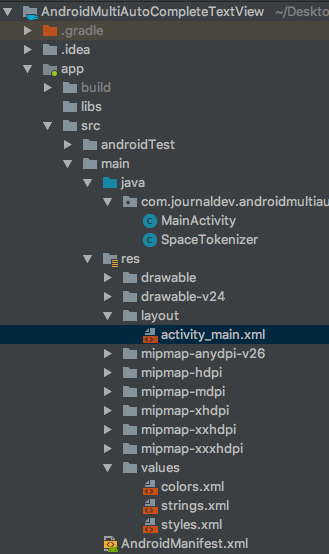 androidmultiautocompletetextview project