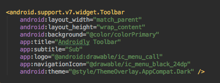 android toolbar xml layout