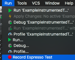 android espresso test record
