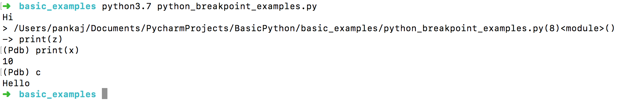 python breakpoint example