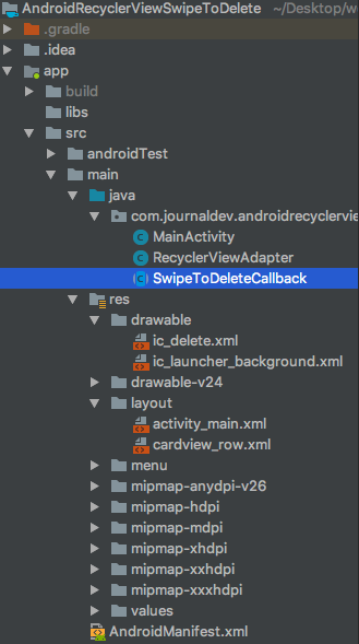 android recyclerview swipe to delete