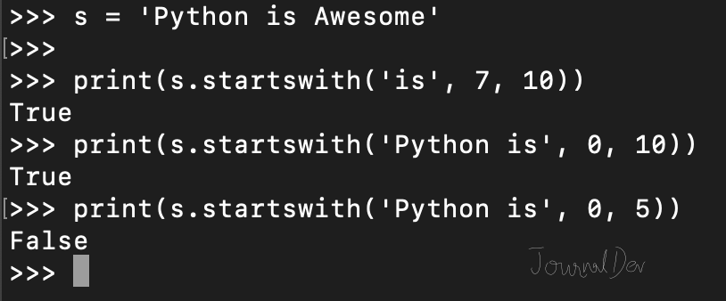 python string startswith function