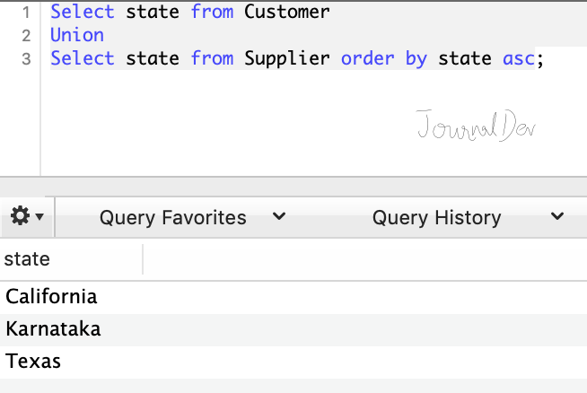 SQL Union example with order by clause