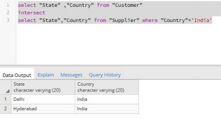SQL Intersect with where clause