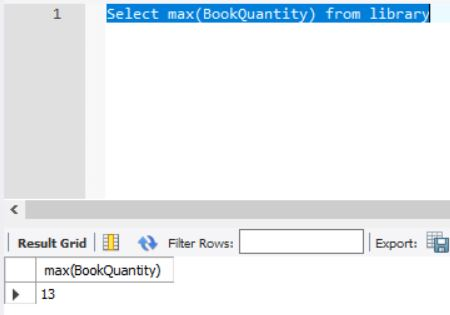 SQL Max example