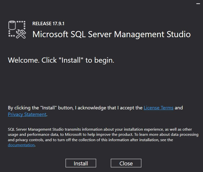 SSMS Installation Screen