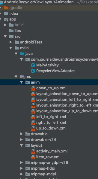 android recyclerview layout animation output