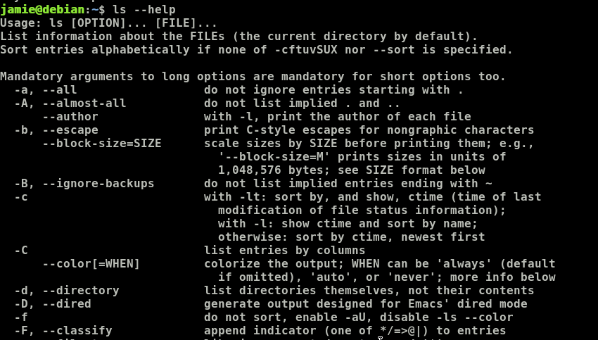 common ls commands in Linux