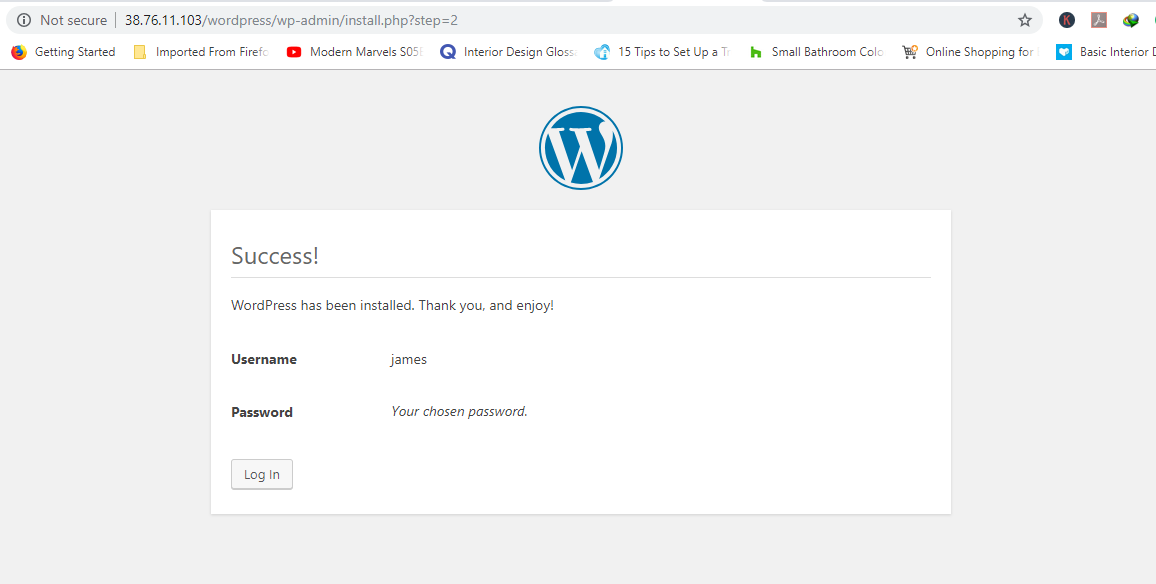 Success installing WordPress