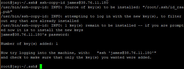 login using public ssh key