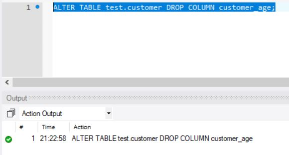 ALTER Table For Dropping Column