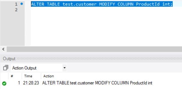 ALTER Table For Modify Column