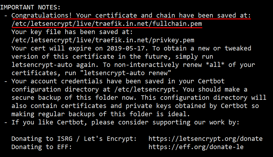 Fetched Lets Encrypt Certificate Successfully