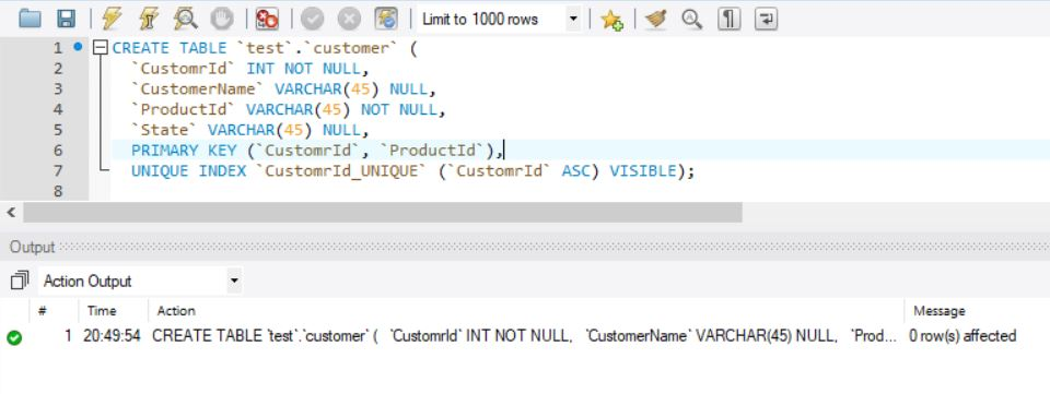 SQL Create Table - Multiple Column Primary Key - MySQL