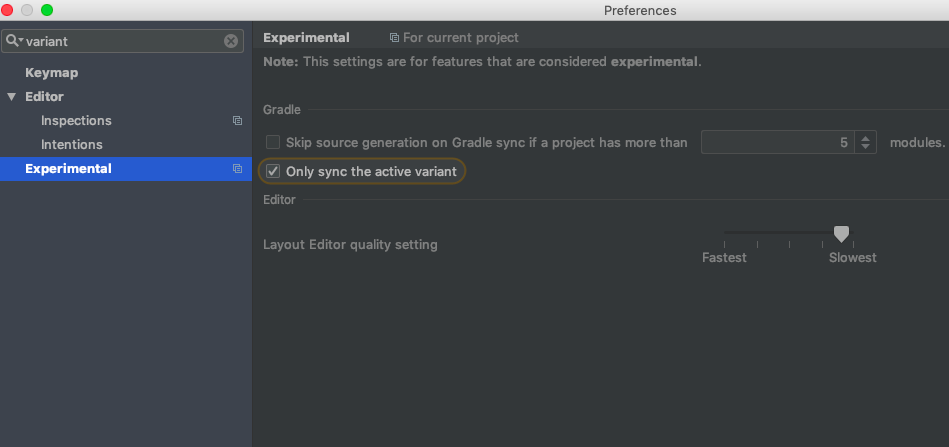 Android Studio Single Build Variant Sync