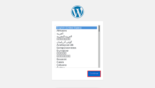 Choose Language For WordPress Installation