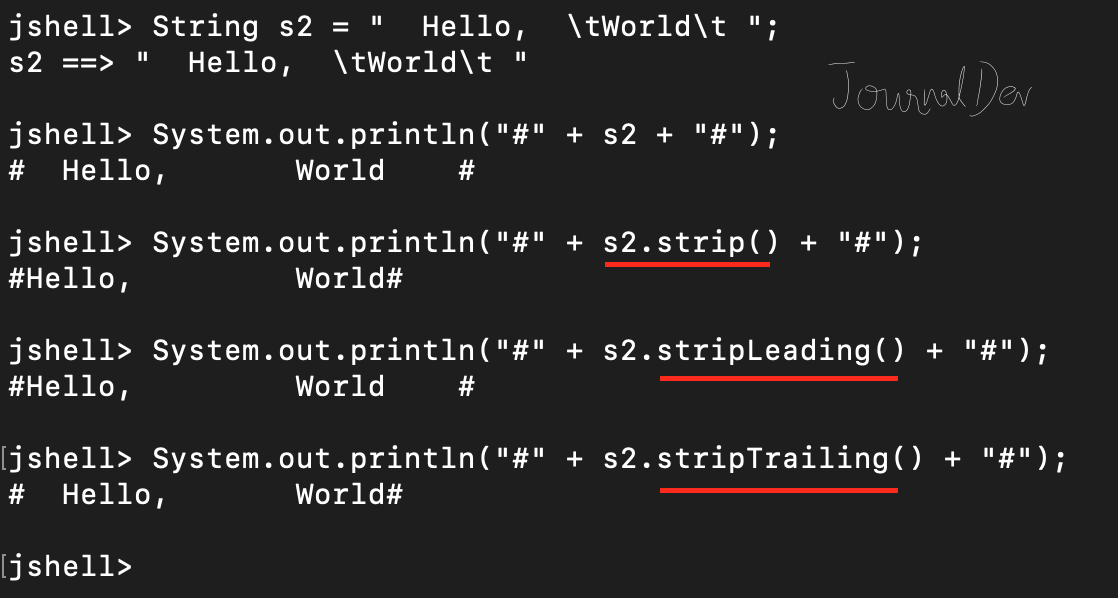 Java String strip(), stripLeading(), stripTrailing() functions