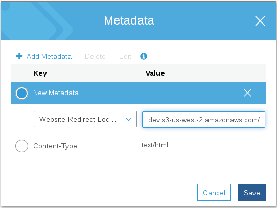 Redirection Metadata Page